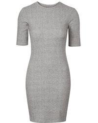 Topshop Petite Ribbed Mini Bodycon Dress - Lyst