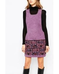 Anna Sui | Swedish Garden Embroidered Dress In Faux Suede | Lyst