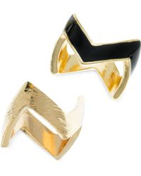 Guess Goldtone Chevron Ring Set - Lyst