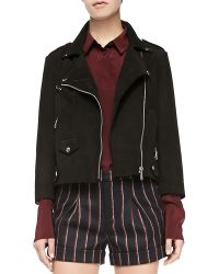 Rebecca Minkoff Wes Cropped Leather Moto Jacket - Lyst