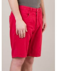 Osklen Red Denim Shorts - Lyst