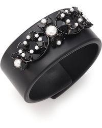 Givenchy Crystal & Leather Cuff Bracelet - Lyst