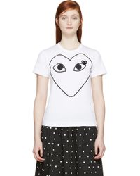 Play Comme des Garçons Black And White Logo T_Shirt - Lyst