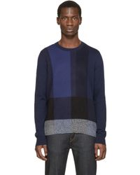 Burberry Brit - Navy Oversized Check Jumper - Lyst