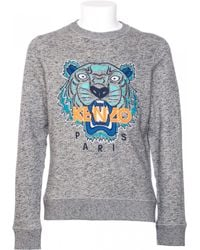 Kenzo Grey Cotton Sweatshirt With Tiger Embroidery gray - Lyst