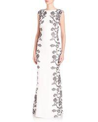 Tadashi Shoji | Floral-side Crepe Gown | Lyst