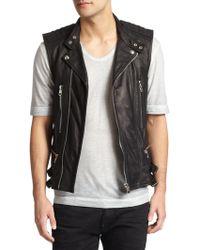 Diesel Black Gold Leather Moto Vest - Lyst