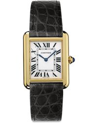 Cartier Tank Solo Small 18K Yellow Gold & Alligator Strap Watch - Lyst