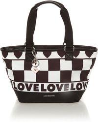 Love Moschino Black and White Medium Tote Bag - Lyst
