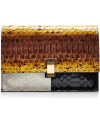 Proenza Schouler The Lunch Bag Small Color-Block Python Clutch - Lyst