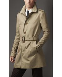 Burberry Mid-Length Leather Trim Gabardine Trench Coat - Lyst