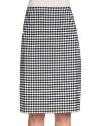 Oscar de la Renta Checked Stretch Wool Pencil Skirt - Lyst