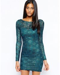 Lipsy Lace Sequin Bodyconscious Dress with Long Sleeves - Lyst