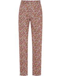 Giamba   Floral Printed Cotton Corduroy Pants   Lyst