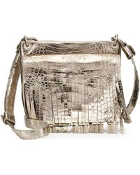 Nancy Gonzalez - Metallic Crocodile Fringe Crossbody Bag - Lyst
