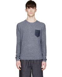 Diesel Navy Knit And Denim K_Ramaria Sweater blue - Lyst