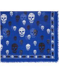 Alexander McQueen Royal Blue Two_Tone Skull Pashmina - Lyst