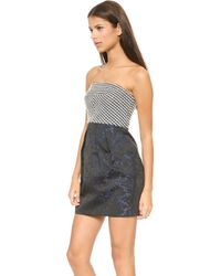 4.collective Strapless Dress  Navy Multi - Lyst