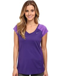 Nike Miler S/S V-Neck Top - Lyst