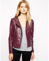Selected Leather Biker Jacket - Lyst