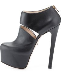Ruthie Davis - Cutaway Leather Ankle Bootie - Lyst