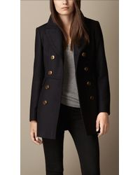 Burberry Double Wool Twill Coat - Lyst