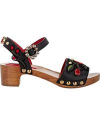 Dolce & Gabbana Embellished Ankle-Strap Sandals - Lyst