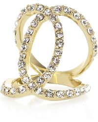 River Island Gold Tone Diamante Encrusted Cross Over Ring - Lyst