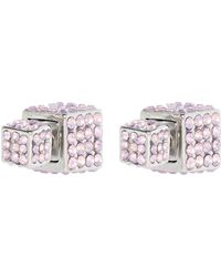 River Island Light Pink Diamante Encrusted Cube Earrings - Lyst