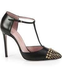 Gucci Studded Leather T-Strap Pumps - Lyst