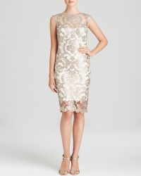 Tadashi Shoji Dress - Sleeveless Illusion Neckline Sequin Lace Sheath - Lyst