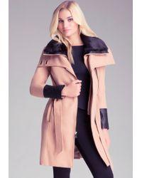 Bebe Faux Fur Trimmed Coat - Lyst