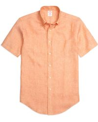 Brooks Brothers Madison Fit Linen Short-Sleeve Sport Shirt - Lyst