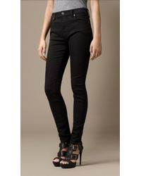 Burberry Skinny Fit Highrise Deep Black Jeans - Lyst