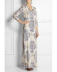 Tory Burch Sabrina Printed Stretch-silk Georgette Maxi Dress - Lyst