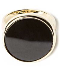 Pixie Market - Black Onyx Round Gold Ring - Lyst