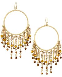 Lydell NYC - Beaded Tassel Hoop Earrings - Lyst