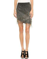 Haute Hippie Bb Fringe Skirt - Charcoal Heather Grey - Lyst