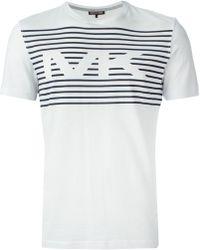 Michael Kors Striped Logo Print T-Shirt - Lyst