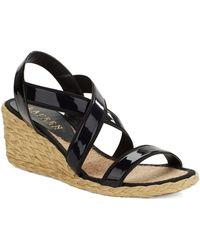 Lauren by Ralph Lauren Corianna Leather Wedge Sandals - Lyst