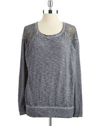 DKNY Heathered Lace Top - Lyst