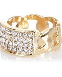 River Island Gold Tone Diamante Encrusted Chain Ring silver - Lyst