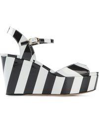 Dolce & Gabbana Striped Print Wedge Sandals - Lyst