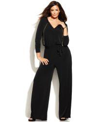 Michael Kors Michael Plus Size Long-Sleeve Wide-Leg Jumpsuit - Lyst