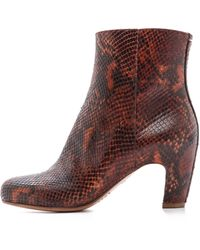 Maison Margiela Snake Printed Leather Booties - Red - Lyst