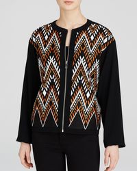 DKNY Embroidered Zip Front Jacket black - Lyst