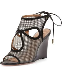 Aquazzura - Sexy Thing Cut-Out Mesh Court Shoes - Lyst