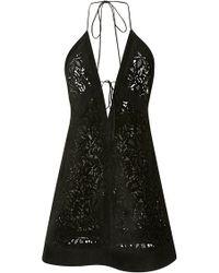 J. Mendel Lasercut Suede V-Neck Dress - Lyst