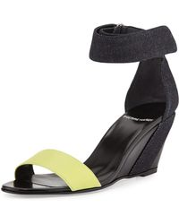 Pierre Hardy Neon Denim & Leather Wedge Sandal - Lyst