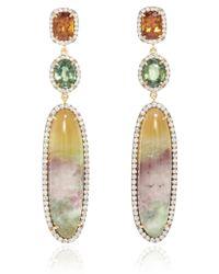 Pamela Huizenga - 18K Gold Earrings With Hydrogrossular Garnet, Green Sapphires, Grandite Mali Garnet, And Diamonds - Lyst